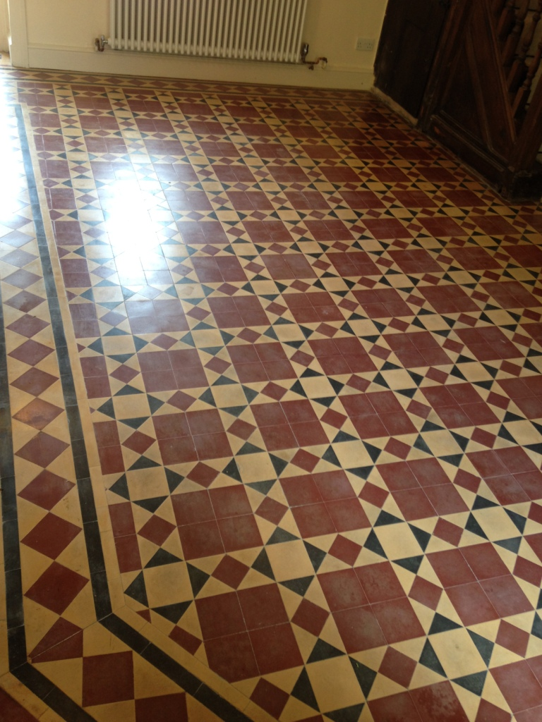 Victorian floor tile before deep cleaning Caldicot