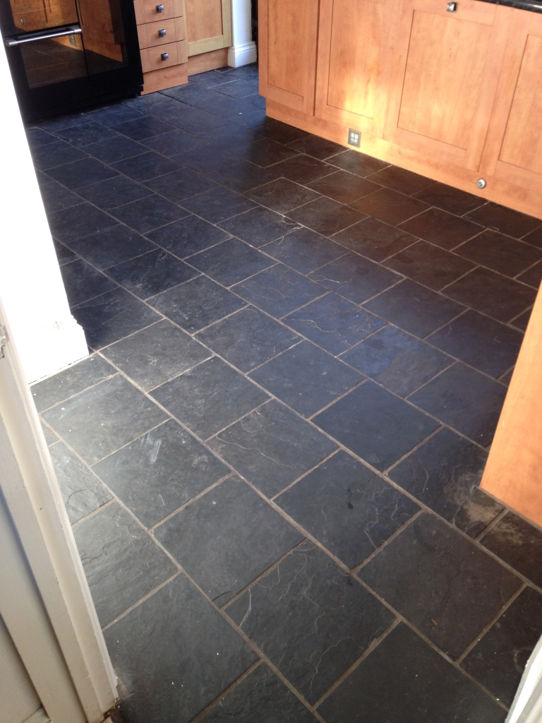 Slate floor before cleaning Pontypool