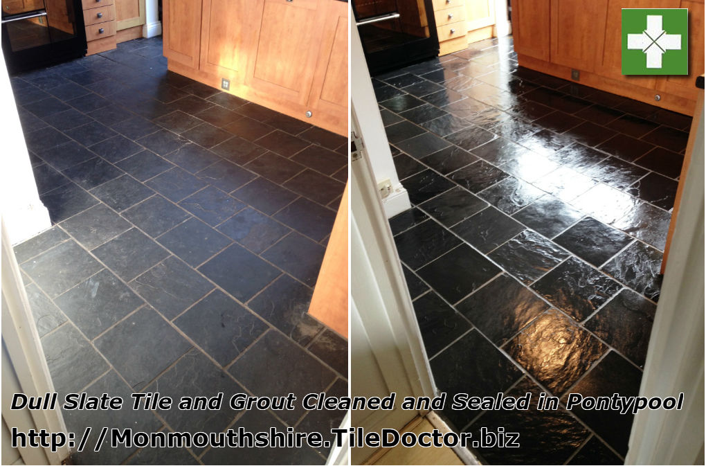 Slate tiled floor before and after cleaning in Pontypool