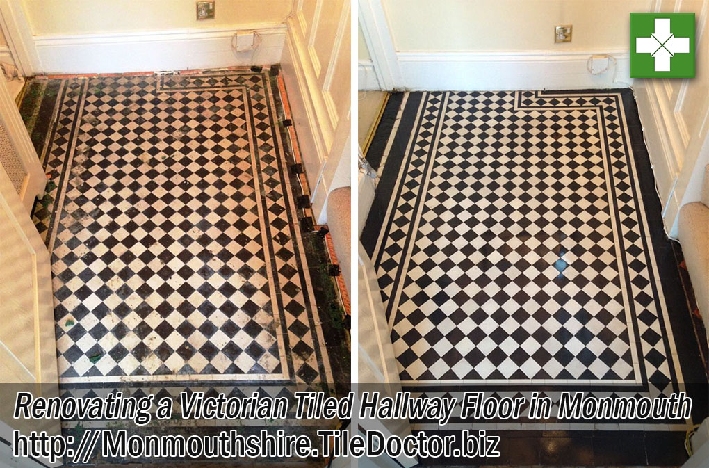 Victorian Tiled Hallway Floor Before and After Renovation in Monmouth