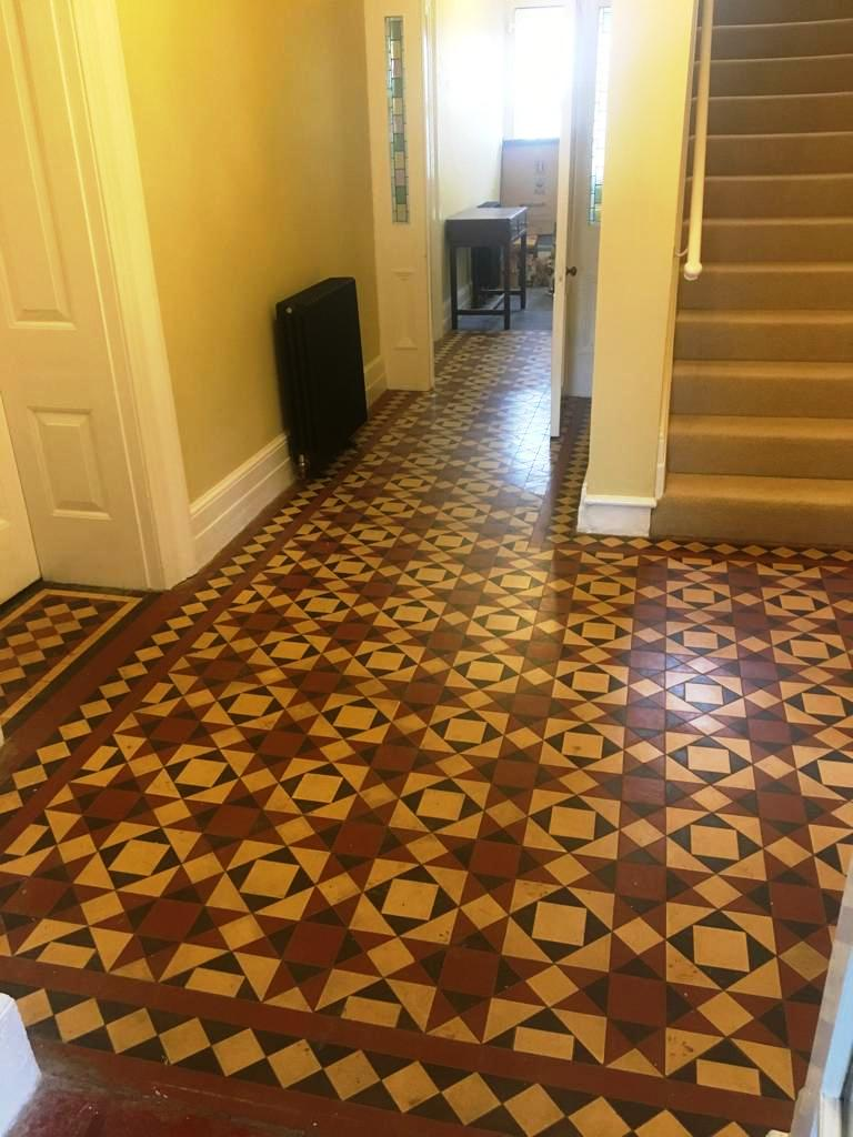 Victorian Tiled Hallway Before Cleaning Abergavenny