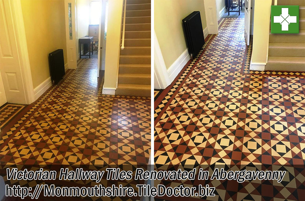 Victorian Tiled Hallway Floor Before and After Renovation Abergavenny