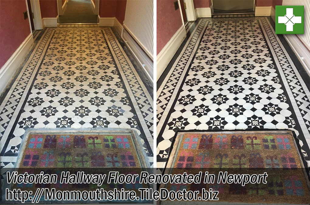 Victorian Tiled Hallway Floor Before and After Renovation Newport