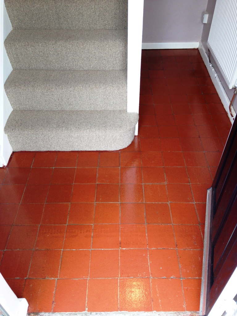 Quarry Tiled Hallway Floor After Cleaning