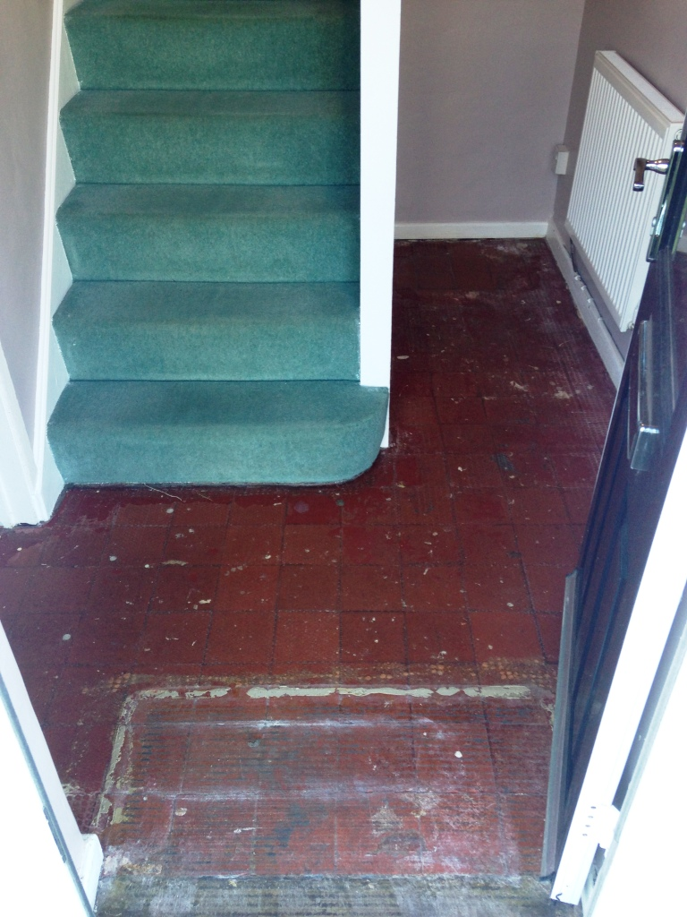 Quarry Tiled Hallway Floor Before Cleaning