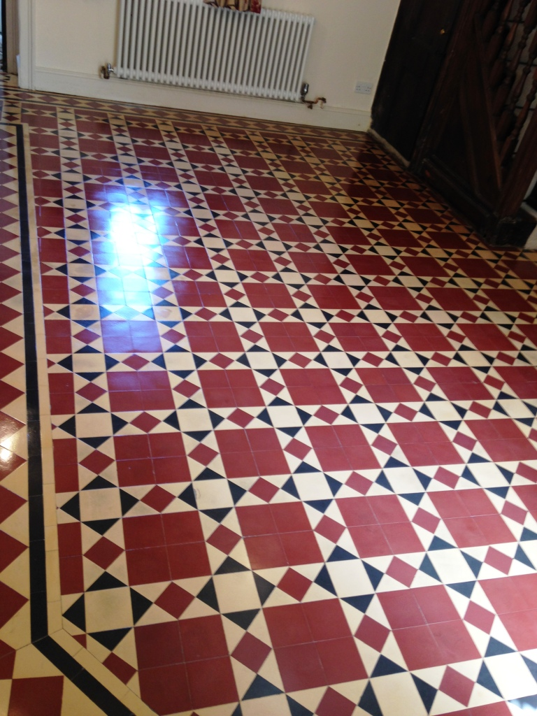 Victorian floor tile after cleaning and sealing Caldicot