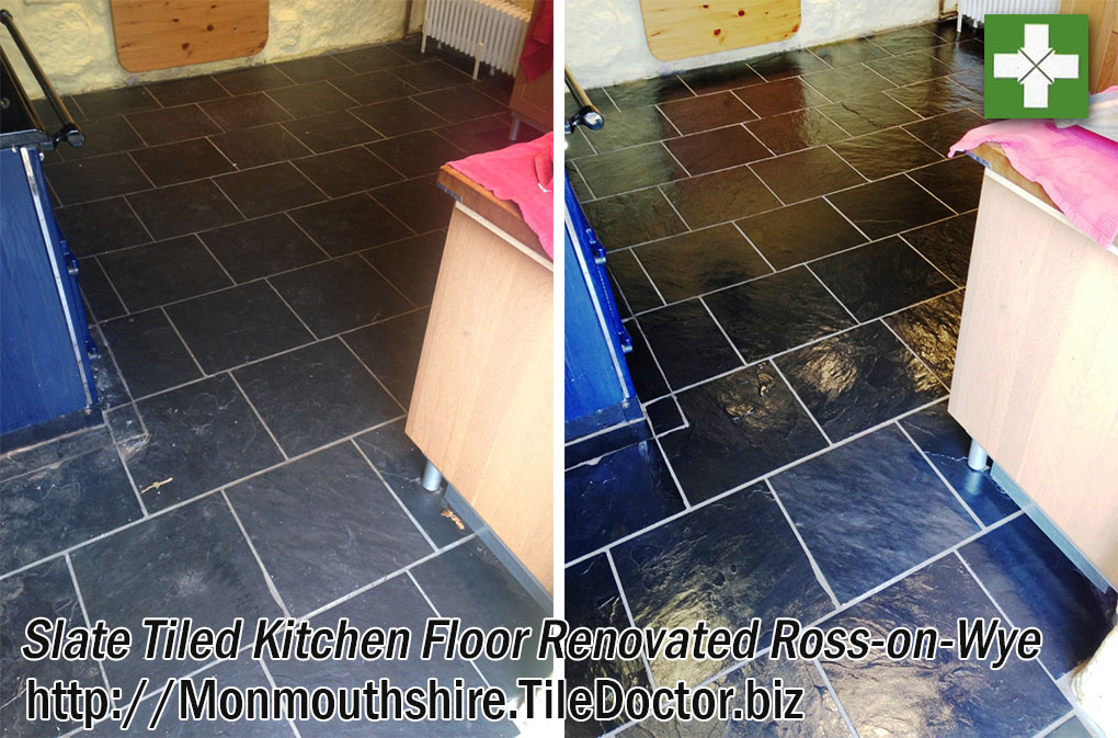 Slate Kitchen Floor before and after Renovation in Ross-on-Wye