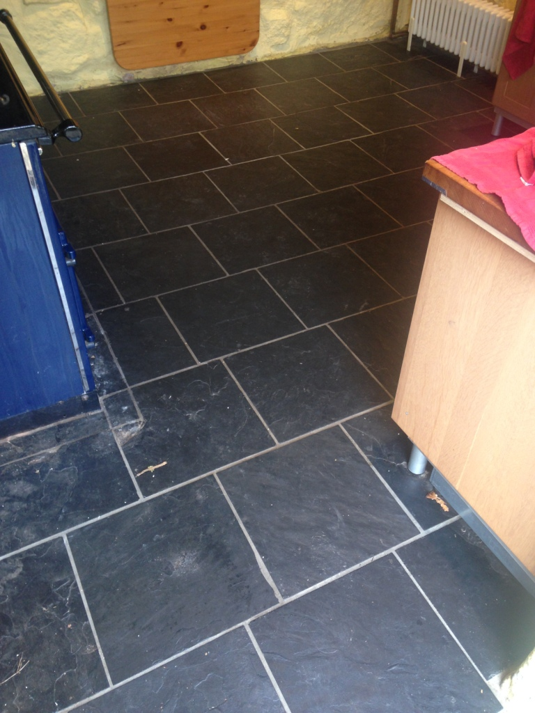 Slate Floor Before Cleaning and Sealing Ross-on-Wye Cottage