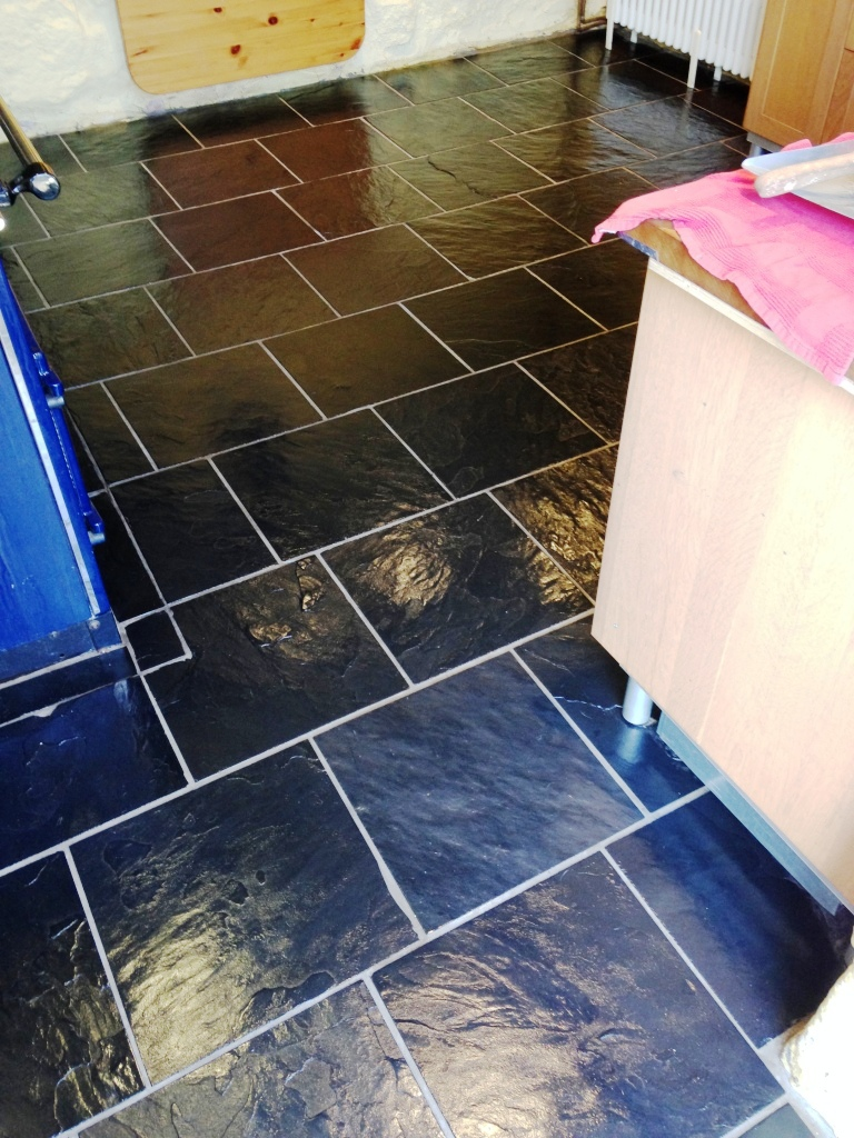 Slate Floor Deep Cleaned and Sealed Ross-on-Wye Cottage