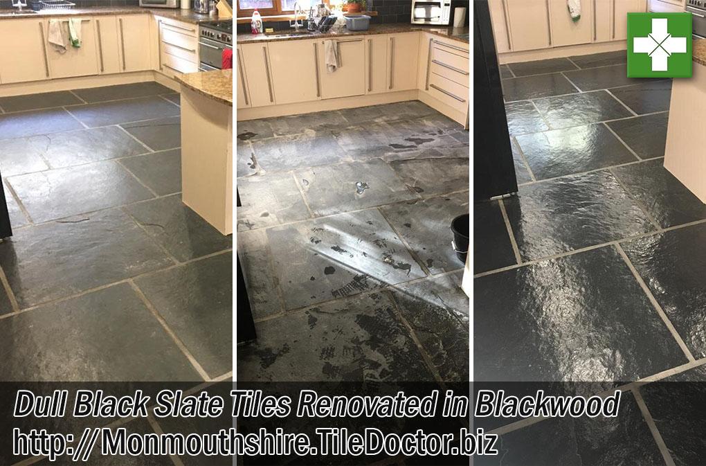 Dull Black Slate Tiles Before After Renovation Blackwood