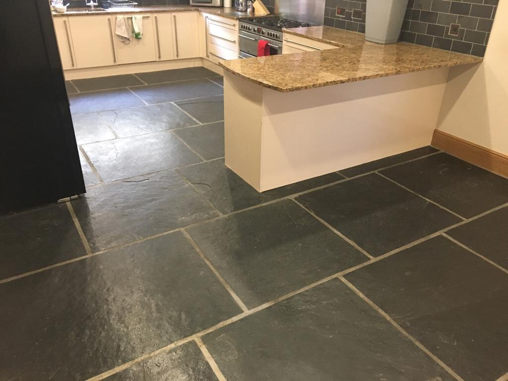 Dull Slate Kitchen Floor Tiles Before Renovation in Blackwood