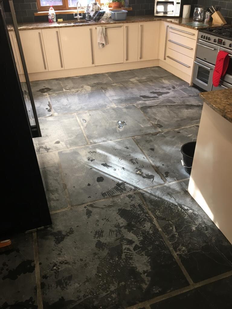 Dull Slate Kitchen Floor Tiles During Renovation in Blackwood