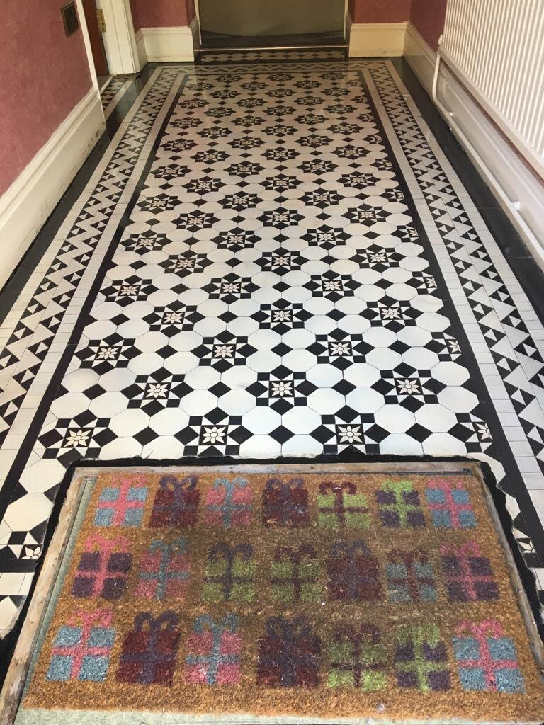 Victorian Tiled Hallway After Cleaning and Sealing Newport Gwent