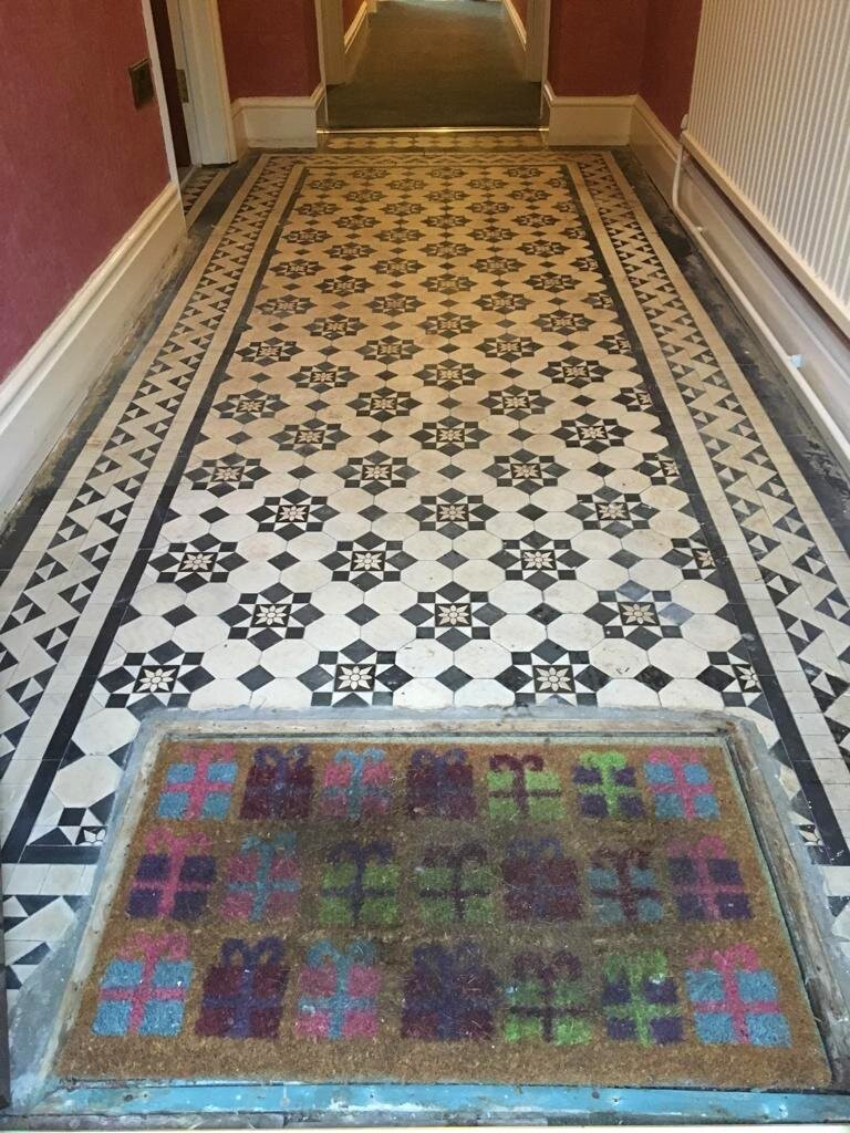 Victorian Tiled Hallway Before Cleaning Newport Gwent