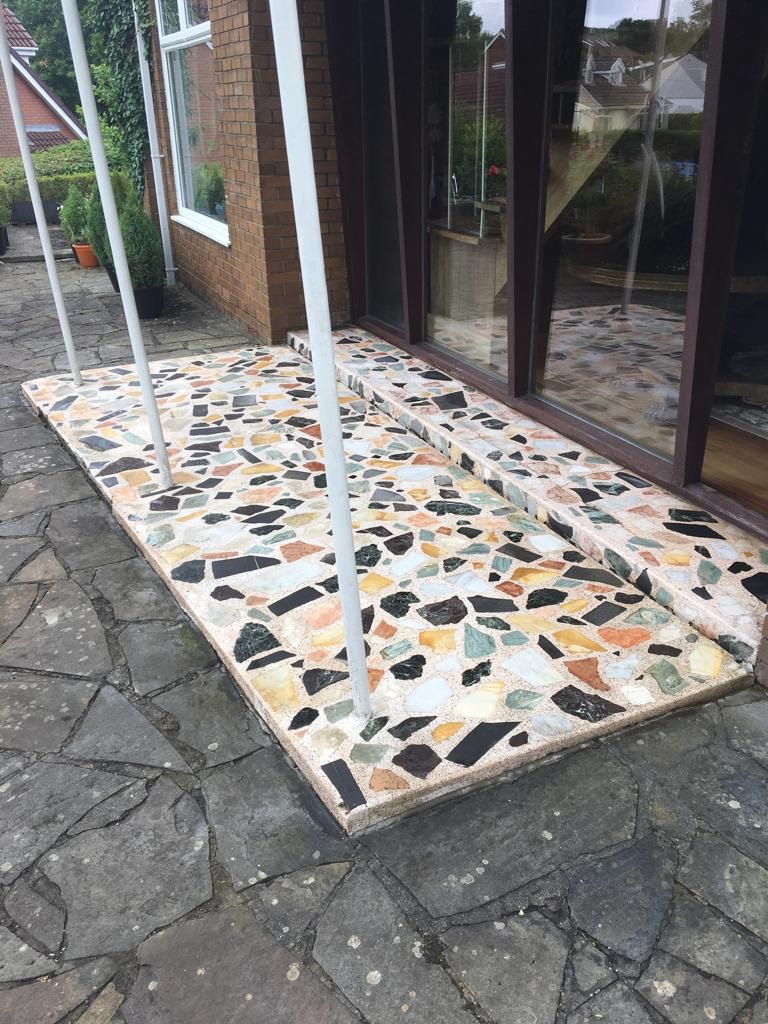 Terrazzo Porch Entrance After Cleaning