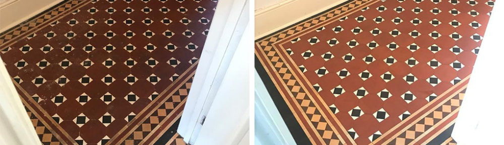 Victorian Tiled Floor Before After Restoration Newport