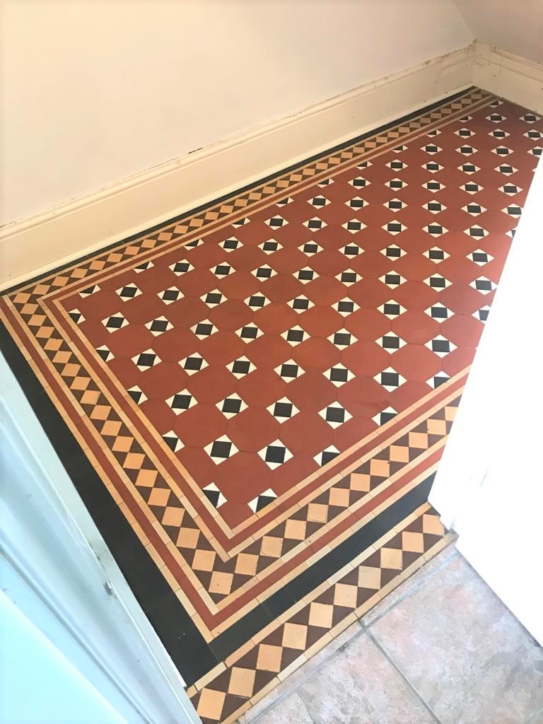 Victorian Tiled Hallway Floor Newport After Cleaning