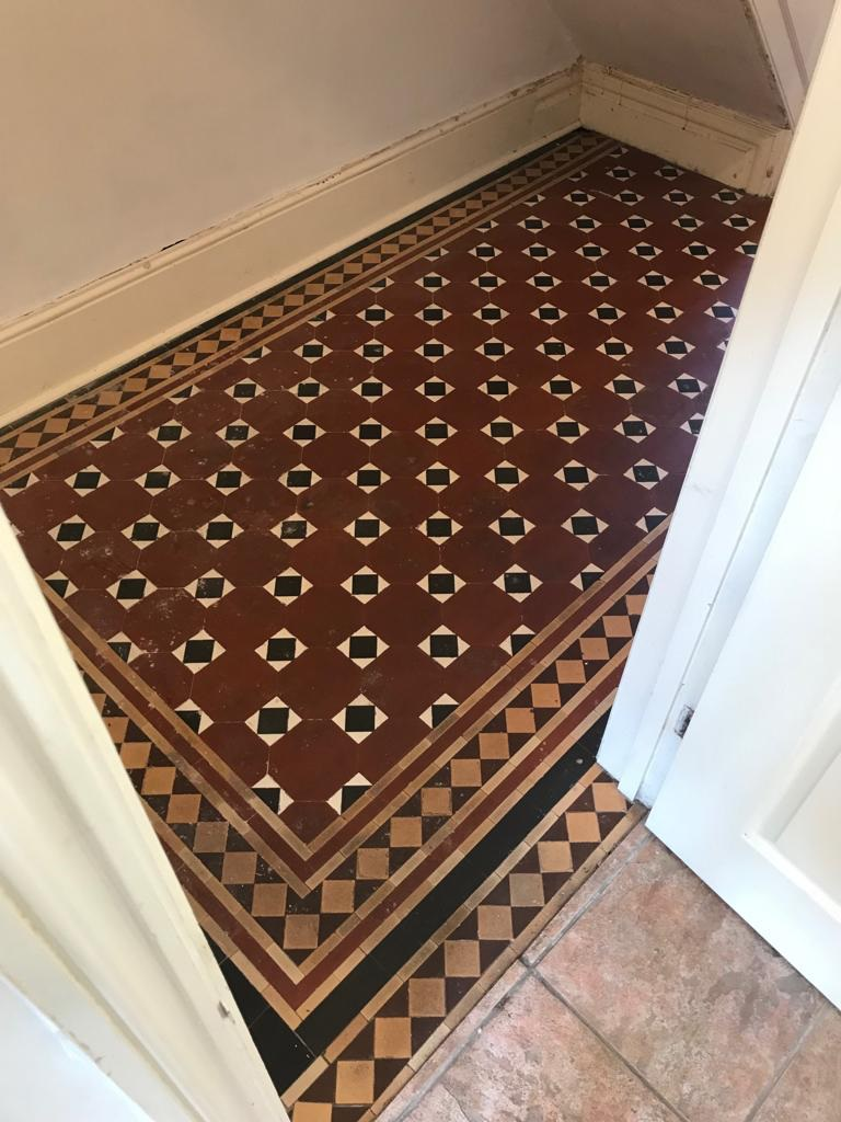 Victorian Tiled Hallway Floor Newport Before Cleaning