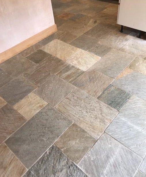 Chinese Slate Tiled Kitchen Floor Before Cleaning Chepstow