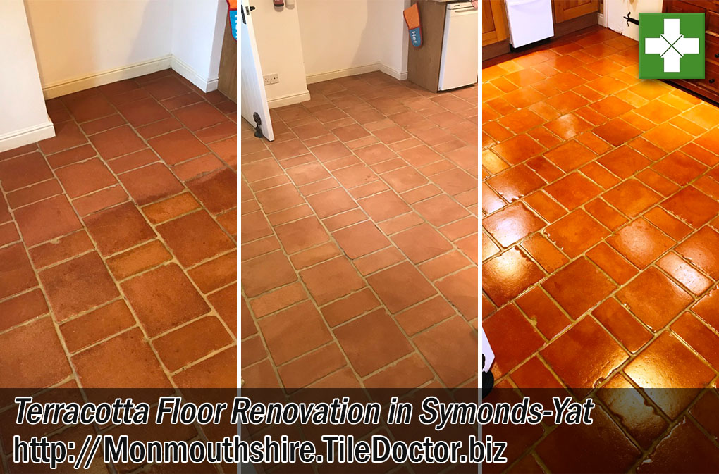 Farmhouse Terracotta Tiled Floor Before After Clean Seal Symonds Yat