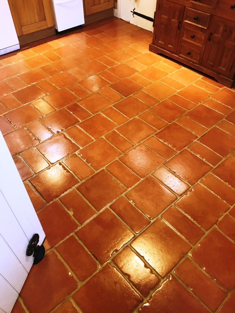 Terracotta Tiled Floor After Cleaning and Sealing Symonds Yat Holiday Home