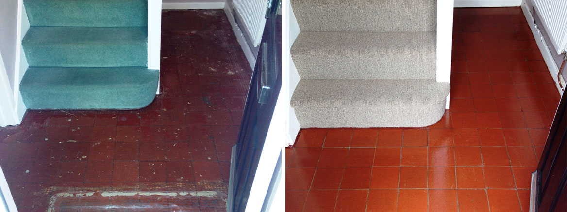 Glue and Paint Stained Quarry Tiled Hallway Restored in Abergavenny