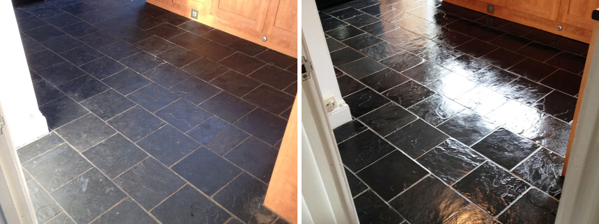 Slate Floor Before and After Cleaning Pontypool