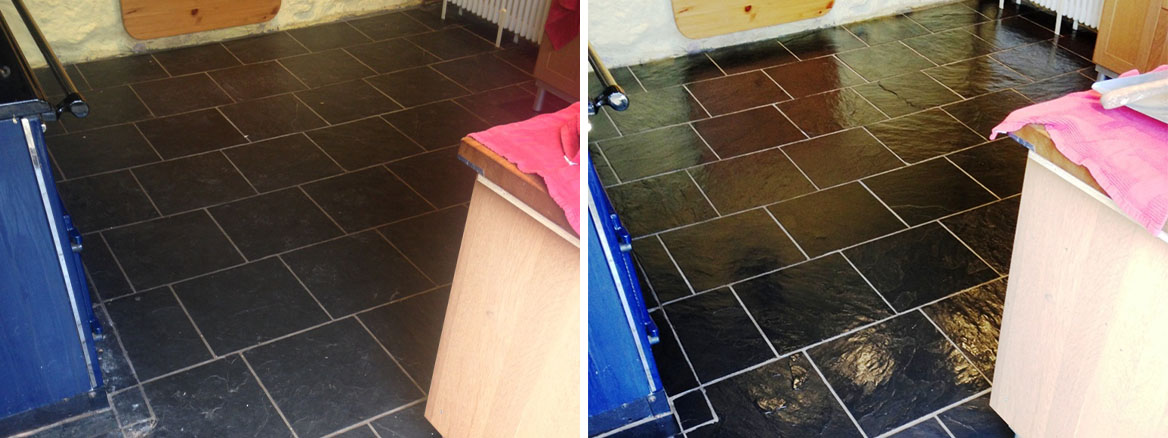 Dull Slate Tiles Rejuvenated with Deep Cleaning and Sealing in Ross-on-Wye