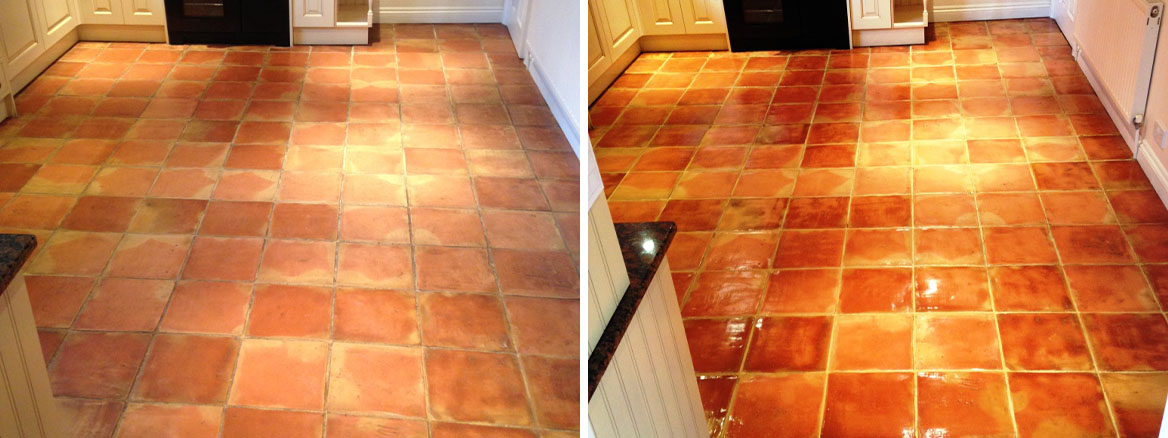 Terracotta Tiles Ingrained with Dirt Cleaned and Sealed in the Forest of Dean