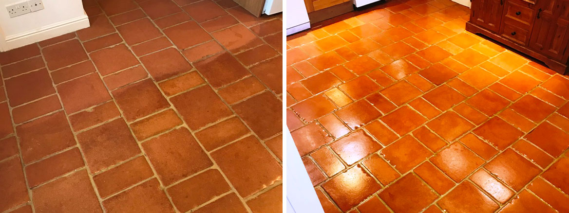 Terracotta-Tiled-Floor-Before-After-Cleaning-and-Sealing-Symonds-Yat-Holiday-Home