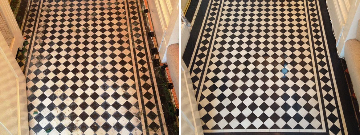 Beautiful Black and White Victorian Tiled Hallway Renovation in Monmouth