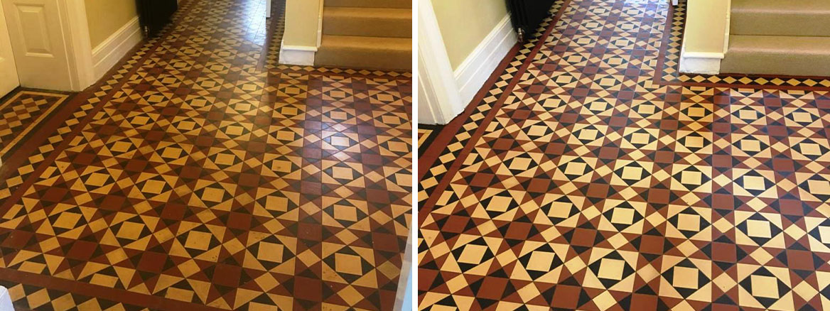 Victorian Tiled Hallway Before and After Cleaning Abergavenny
