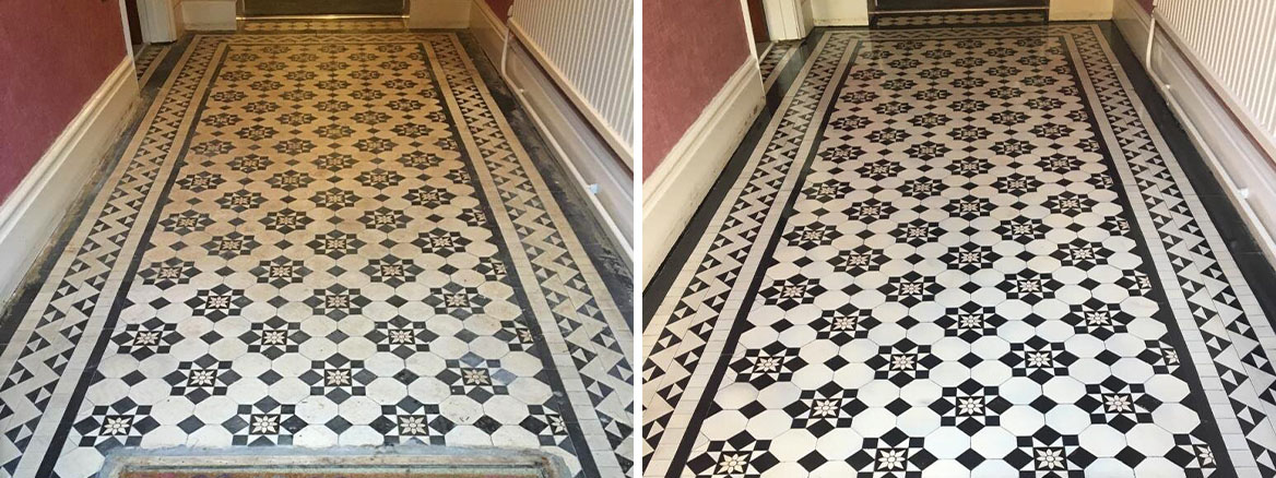 Victorian Tiled Hallway Before and After Cleaning and Sealing Newport Gwent