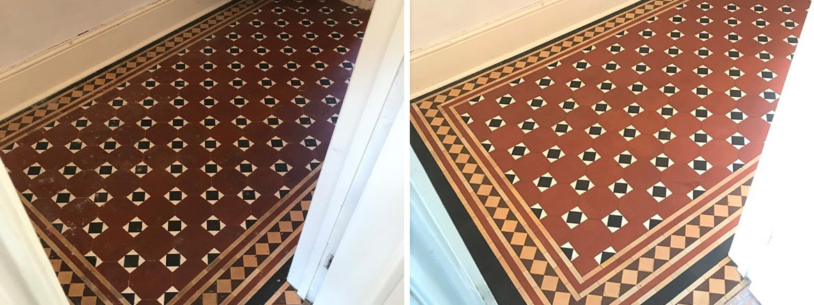 Victorian-Tiled-Hallway-Floor-Newport-Before-After-Cleaning