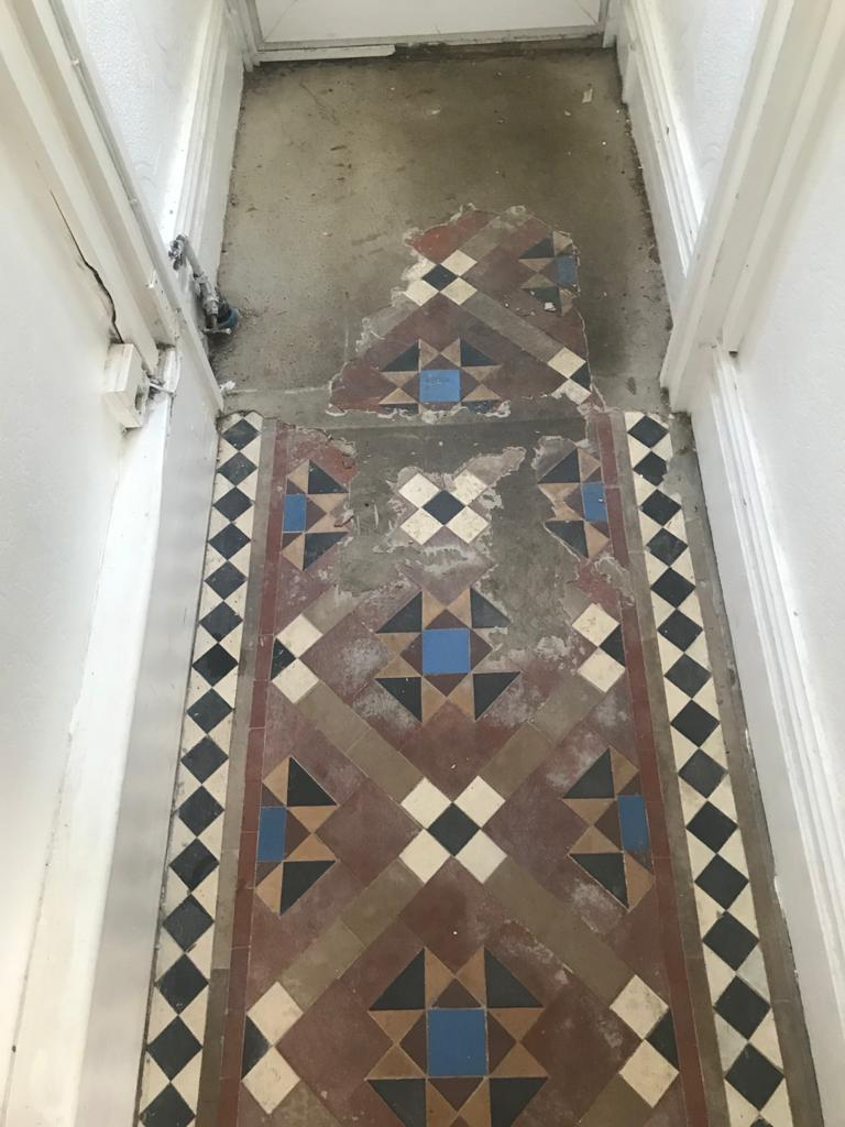 Victorian Tiled Hallway Before Renovation Cwmbran Wales